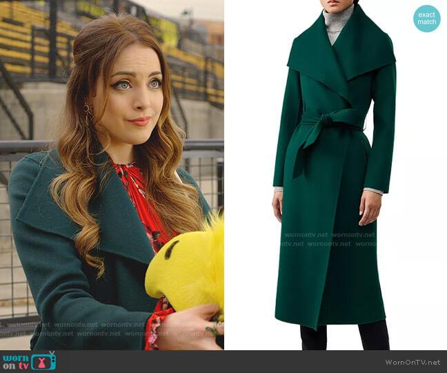 Mai Lightweight Wool Wrap Coat by Mackage worn by Fallon Carrington (Elizabeth Gillies) on Dynasty