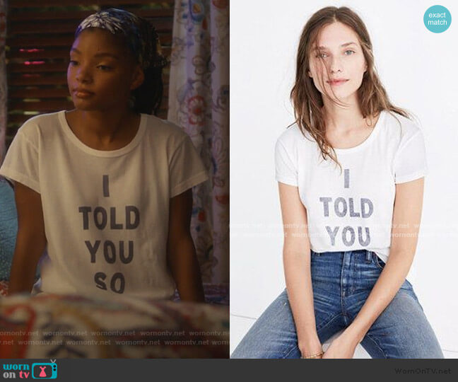 I Told You So Tee by Rivet & Thread at Madewell worn by Skylar Forster (Halle Bailey) on Grown-ish