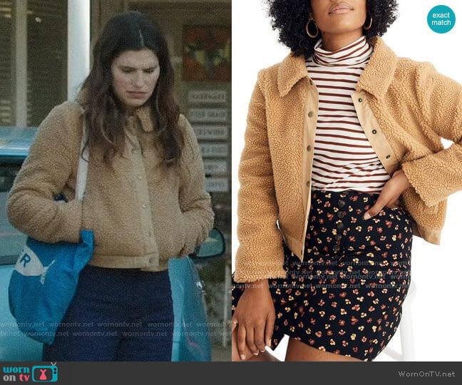 Madewell Sherpa Portland Jacket worn by Rio (Lake Bell) on Bless This Mess
