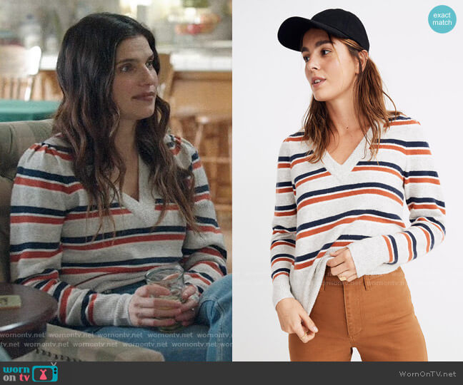 Madewell Striped Westgate V-Neck Sweater in Coziest Yarn worn by Rio (Lake Bell) on Bless This Mess