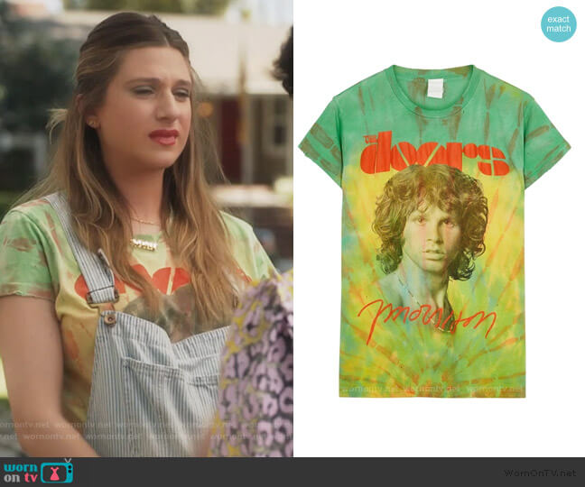 The Doors Morrison tie-dye cotton T-shirt by Madeworn worn by Nomi Segal (Emily Arlook) on Grown-ish