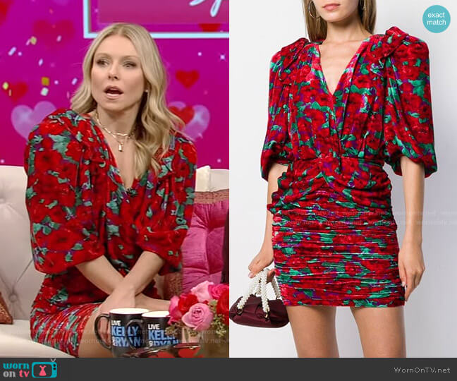 Floral Print Ruched Dress by Magda Butrym worn by Kelly Ripa  on Live with Kelly & Ryan