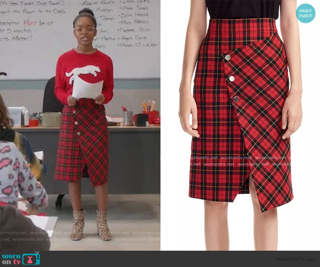 Janty Plaid Skirt by Maje worn by Diane Johnson (Marsai Martin) on Blackish