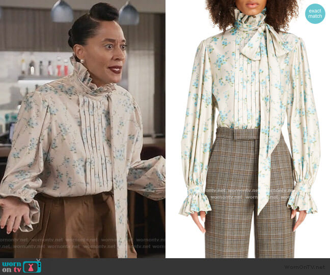 Floral Tie Neck Silk Blouse by Marc Jacobs worn by Rainbow Johnson (Tracee Ellis Ross) on Blackish