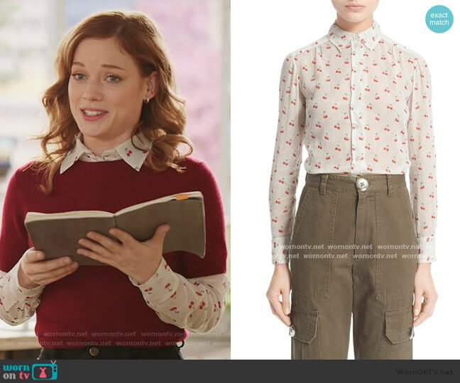 Cherry & Pindot Print Cotton Voile Top by Marc by Marc Jacobs worn by Zoey Clarke (Jane Levy) on Zoeys Extraordinary Playlist