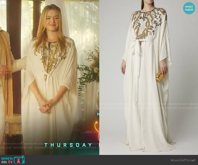 Crystal-Embellished Tie-Detailed Silk Caftan by Marchesa worn by Kirby Anders (Maddison Brown) on Dynasty