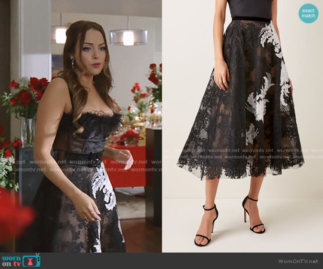 Point D'esprit Tulle And Corded Lace Midi Skirt by Marchesa  worn by Fallon Carrington (Elizabeth Gillies) on Dynasty