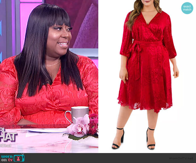 Silk Burnout Wrap Dress by Maree Pour Toi worn by Loni Love  on The Real