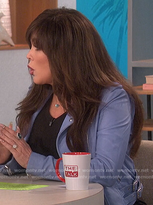 Marie's light blue leather moto jacket on The Talk