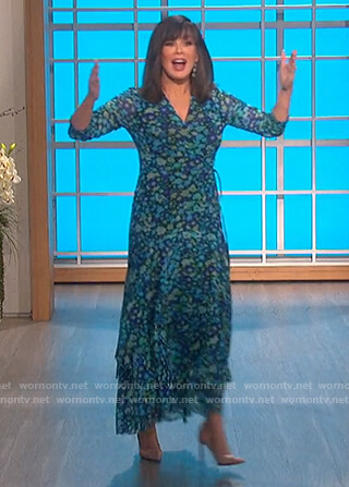 Marie's blue floral wrap midi dress on The Talk