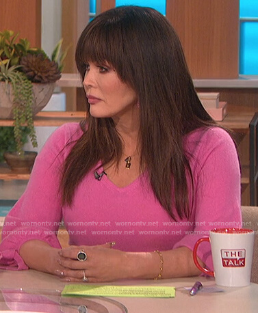 Marie's pink tie sleeve sweater on The Talk