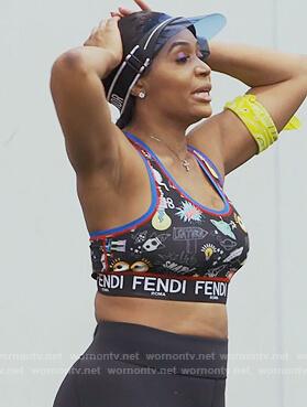 Marlo Hampton's black printed sports bra on The Real Housewives of Atlanta
