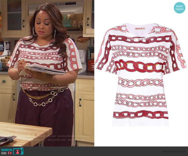 Chain Link Print T-shirt by Marni worn by Raven Baxter (Raven-Symoné) on Ravens Home