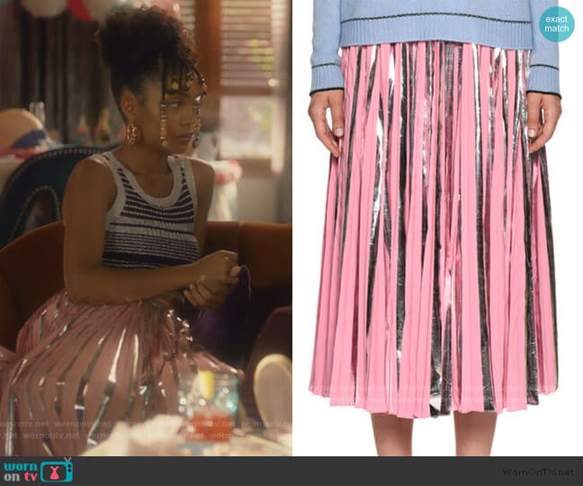 Plisse Foil Ankle-Length Skirt by Marni worn by Zoey Johnson (Yara Shahidi) on Grown-ish