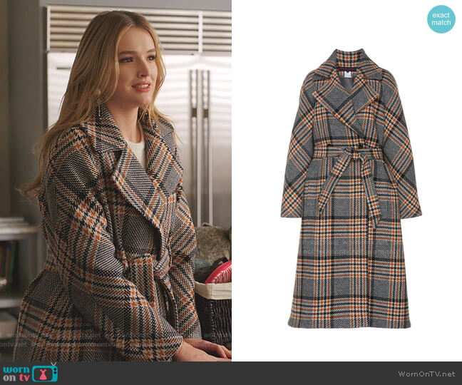 Belted Checked Wool Coat by Martin Grant worn by Kirby Anders (Maddison Brown) on Dynasty
