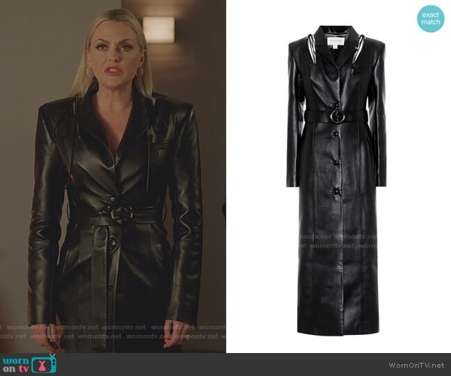 Belted Faux Leather Coat by Materiel Tbilisi worn by Alexis Carrington (Elaine Hendrix) on Dynasty