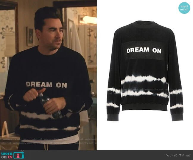 Dream On Sweatshirt by Mauna Kea worn by David Rose (Daniel Levy) on Schitts Creek