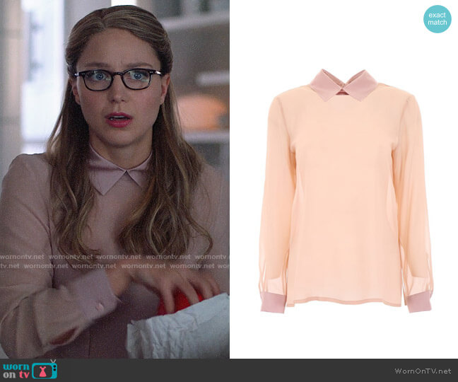 Max Mara Silk Georgette Blouse with Tonal Satin Collar and Cuffs worn by Kara Danvers (Melissa Benoist) on Supergirl