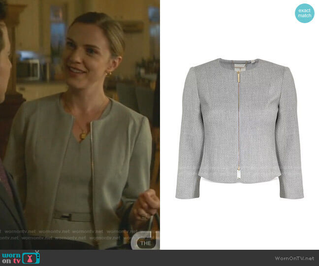 Micah Cropped Textured Zip-Front Blazer by Ted Baker
