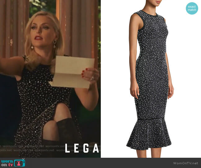 Sleeveless Crystal-Embroidered Trumpet Cocktail Dress by Michael Kors Collection worn by Alexis Carrington (Elaine Hendrix) on Dynasty