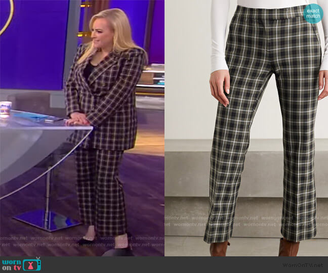 Cropped Checked Flared Pants by MICHAEL Michael Kors worn by Meghan McCain  on The View