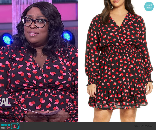 Falling Petals Smock Waist Long Sleeve Dress by MICHAEL Michael Kors worn by Loni Love  on The Real