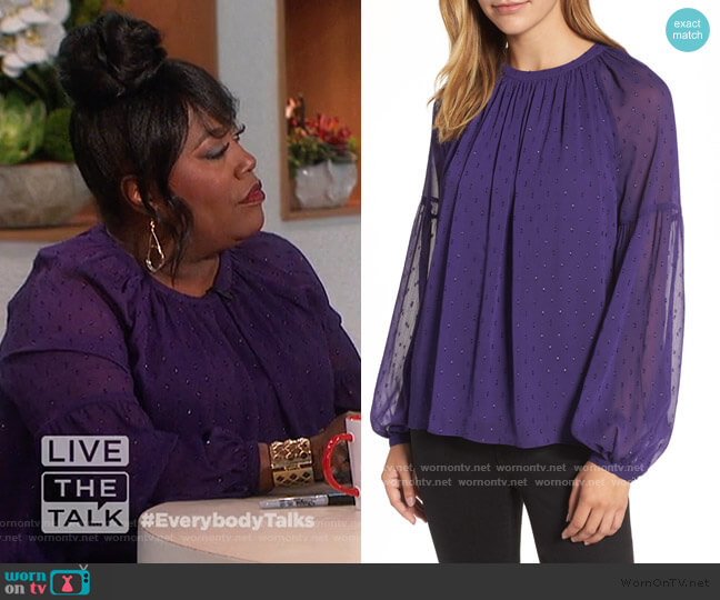 Clip Dot Peasant Top by MICHAEL Michael Kors worn by Sheryl Underwood  on The Talk