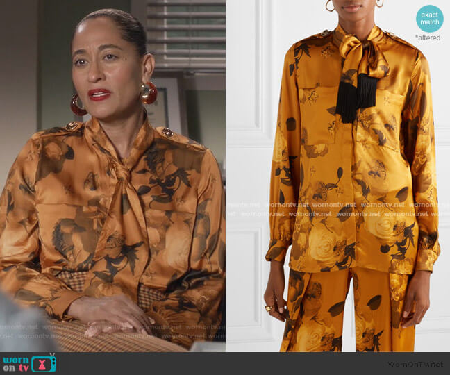 Leandra fringed pussy-bow floral-print satin shirt by Mother Of Pearl worn by Rainbow Johnson (Tracee Ellis Ross) on Blackish
