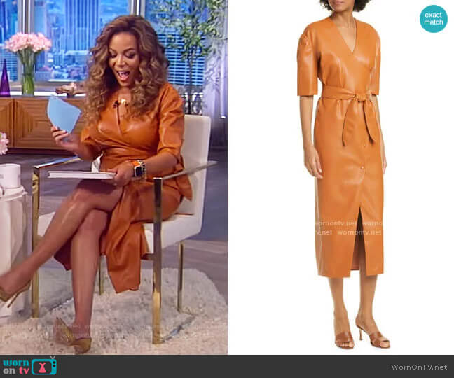 Penelope Faux Leather Wrap Dress by Nanushka worn by Sunny Hostin  on The View