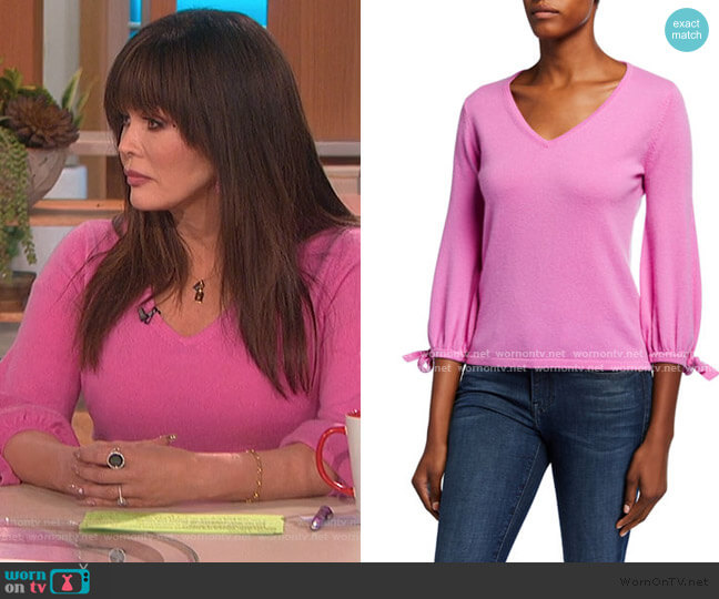 Cashmere V-Neck 3/4 Tie Sleeve Pullover Sweater by Neiman Marcus worn by Marie Osmond  on The Talk