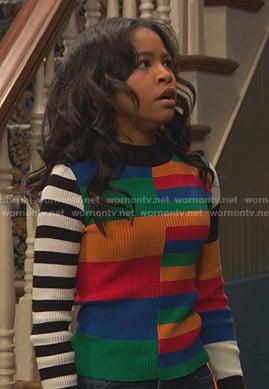 Tess's black floral track jacket and pants on Ravens Home