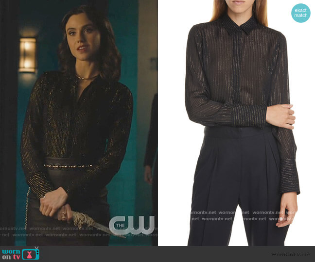 Lleida Metallic Stripe Silk Shirt by Nili Lotan worn by Abigael Jameson-Caine (Poppy Drayton) on Charmed