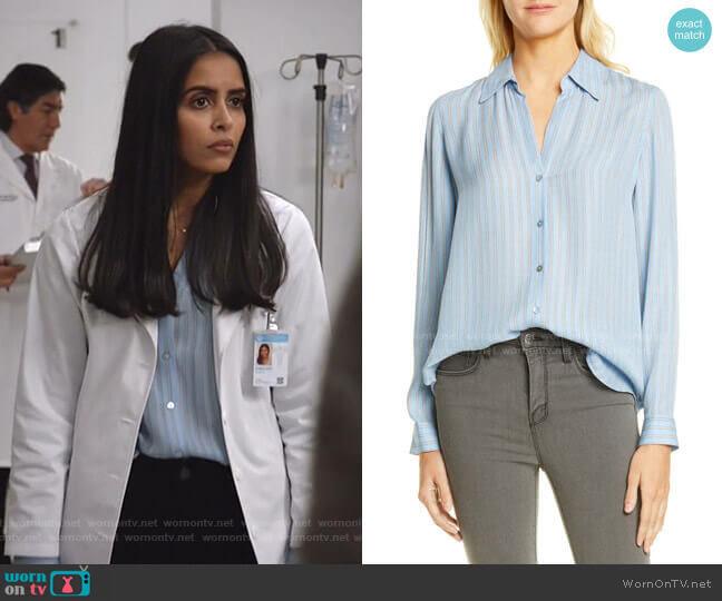 Nina Stripe Silk Blouse by L'Agence worn by Saanvi (Parveen Kaur) on Manifest