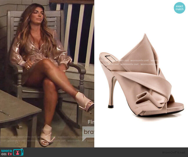 Satin Bow Mules by No 21 worn by Teresa Giudice  on The Real Housewives of New Jersey
