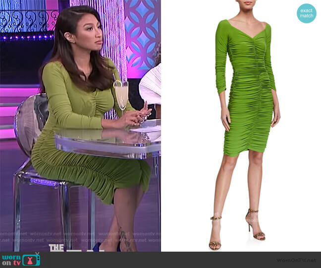 Slinky Off-the-Shoulder Ruched Dress by Norma Kamali worn by Jeannie Mai  on The Real