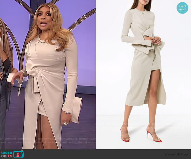 Knotted Layered-look Midi Dress by Off White worn by Wendy Williams  on The Wendy Williams Show