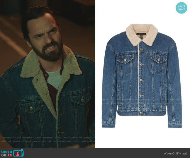 Oh G Borg Denim Jacket by Ksubi worn by Jake Johnson on Stumptown