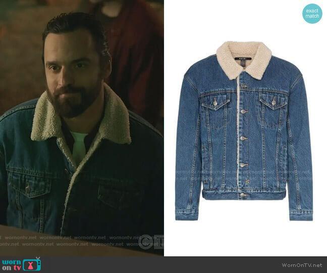 Oh G Borg Denim Jacket by Ksubi worn by Jake Johnson on Stumptown