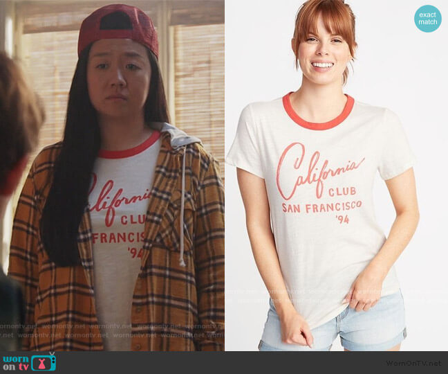 California Club SanFrancisco Ringer Tee by Old Navy worn by Alice Kwan (Sherry Cola) on Good Trouble