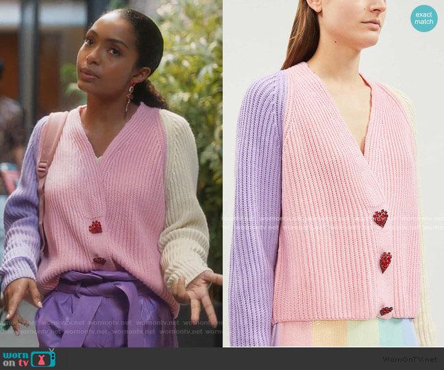 Tally Block-Panel Knit Cardigan by Olivia Rubin worn by Zoey Johnson (Yara Shahidi) on Grown-ish