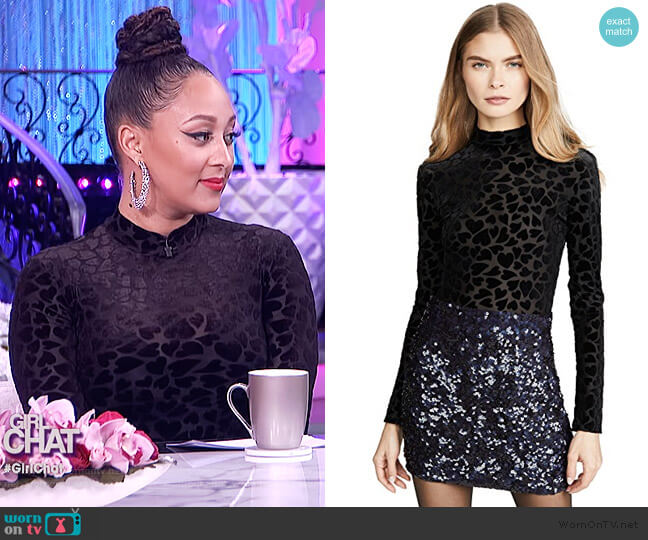Mock Neck Thong Bodysuit by Only Hearts worn by Tamera Mowry  on The Real