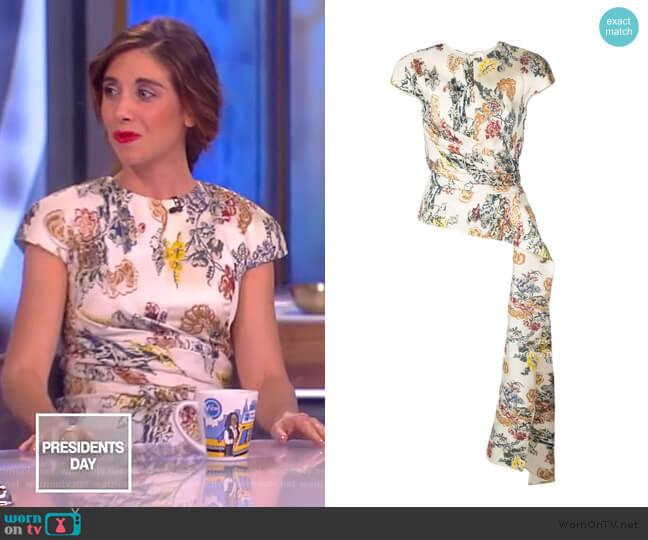Floral Fil Coupe Blouse by Oscar De La Renta worn by Alison Brie on The View