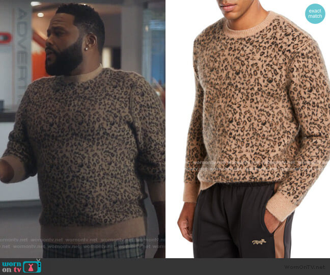 Leopard Pattern Jacquard Crewneck Sweater by Ovadia worn by Anthony Anderson on Grown-ish