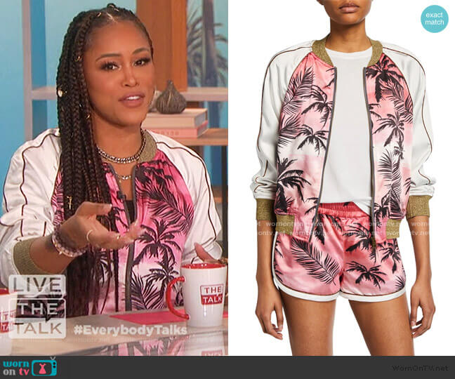 Colorblock Satin Jacket by Pam & Gela worn by Eve  on The Talk