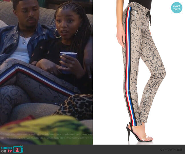 Snake Cigarette Pant by Pam & Gela worn by Jazlyn Forster (Chloe Bailey) on Grown-ish