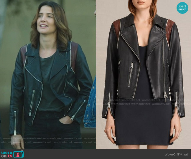 Panel Balfern Leather Bomber Jacket by All Saints worn by Dex Parios (Cobie Smulders) on Stumptown