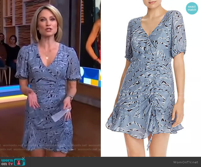 Soliana Silk Blend Tiger-Stripe Dress by Parker worn by Amy Robach  on Good Morning America