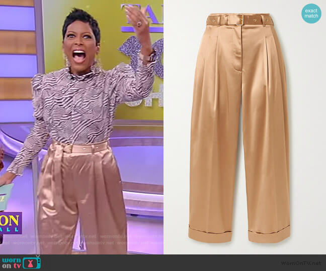 Cropped Belted Satin Wide-leg Pants by Peter Pilotto worn by Tamron Hall  on Tamron Hall Show