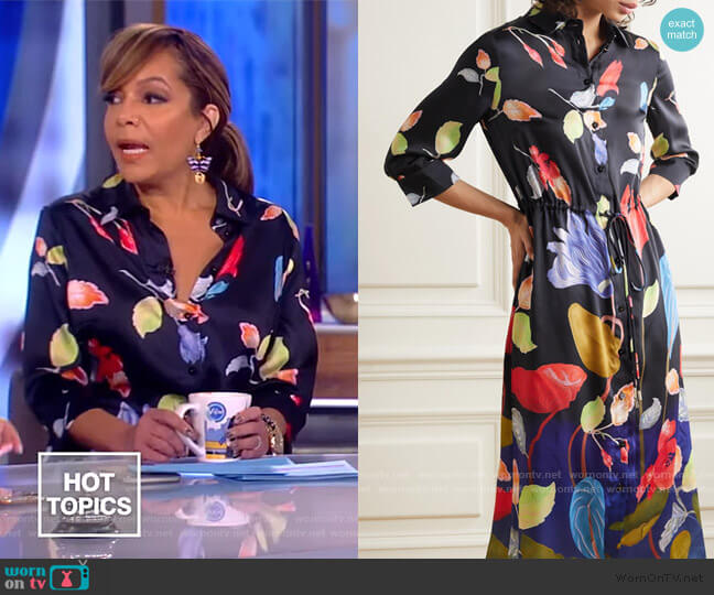 Floral Print Satin Faille Shirtdress by Peter Pilotto worn by Sunny Hostin  on The View