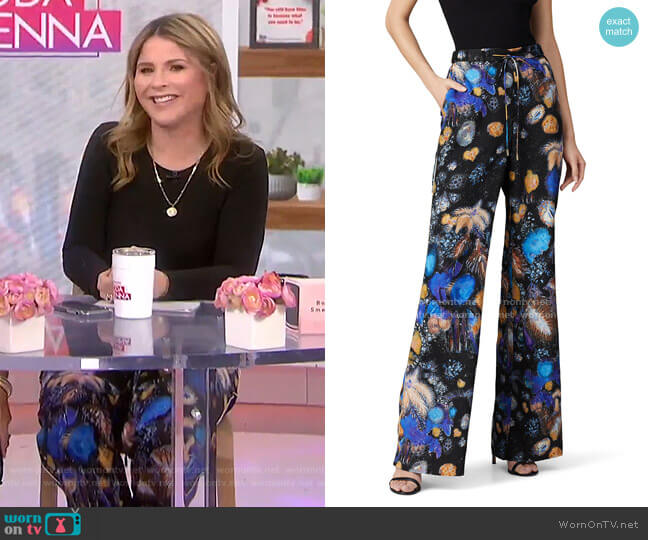 Fireworks Printed Twill Trousers by Peter Pilotto worn by Jenna Bush Hager  on Today